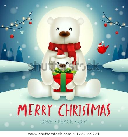 Orso polare baby Natale neve scena Foto d'archivio © ori-artiste
