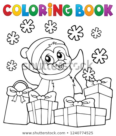 Coloring book Christmas penguin topic 2 Stock photo © clairev