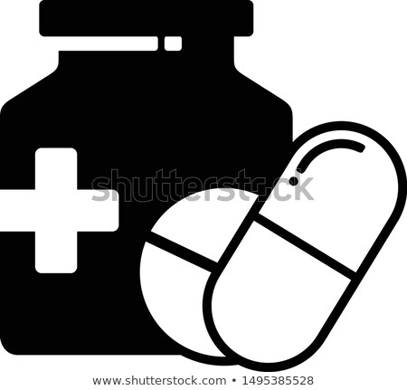 Linear Pill bottle icon with pills. Modern pill bottle for pills or capsules. Flat style vector illu Stock photo © kyryloff