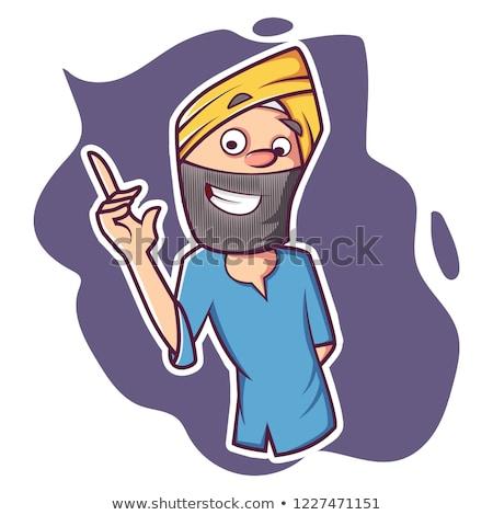 Desenho animado sikh assinar ilustração papel homem Foto stock © cthoman