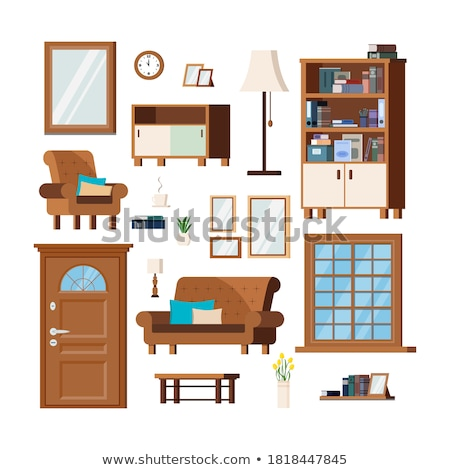 Home Shelf Set Vector. Interior Furniture Objects. Wooden Storage. Isolated Cartoon Illustration Stock photo © pikepicture