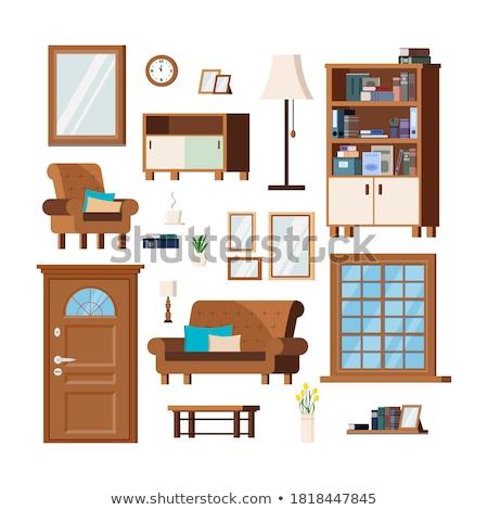 Casa prateleira conjunto vetor interior mobiliário Foto stock © pikepicture