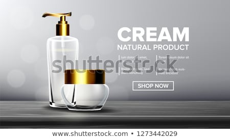 Cosmetic Glass Poster Vector. Oil, Water, Perfume. Premium Jar. Medical Moisturizer. Bottle. Jar. 3D Stock photo © pikepicture