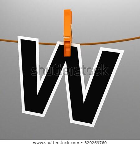 Prendedor de roupa letra w isolado branco carta Foto stock © boggy