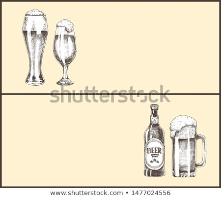 Hand Drawn Beer Bottle and Glass Landing Page Stock photo © robuart