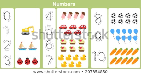 Counting numbers with kids on balloons Stock photo © colematt