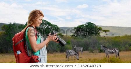 女性 リュックサック カメラ サバンナ 旅行 観光 ストックフォト © dolgachov