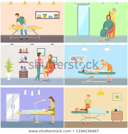 Rosto make-up massagem massagista vetor relaxante Foto stock © robuart
