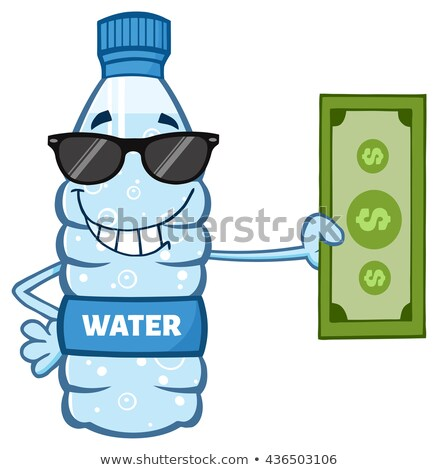 smiling water plastic bottle cartoon mascot character holding a dollar bill stock photo © hittoon