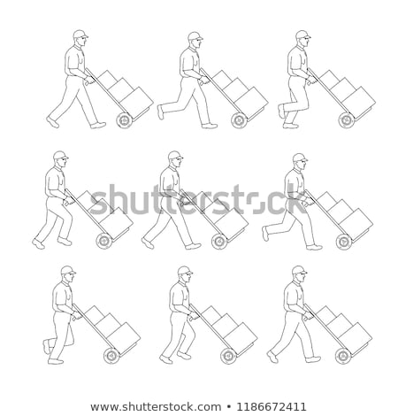 Delivery Worker Pushing Hand Cart Walk Sequence Drawing Stock photo © patrimonio