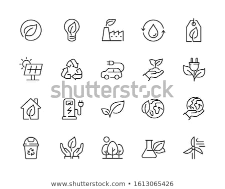 Zdjęcia stock: Green And Leaf Labels - Vector Icon Set