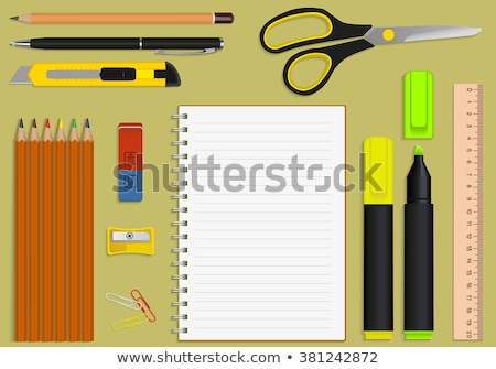 Office Supplies with Banners Icons Set Vector Stock photo © robuart