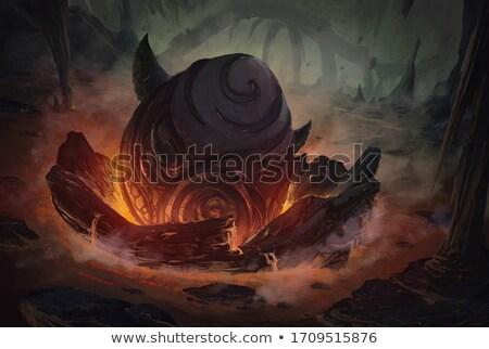 Draken vulkaan draak uit brand achtergrond Stockfoto © colematt
