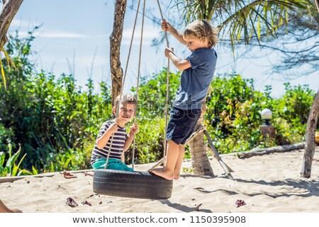 Dwa mały chłopców huśtawka Zdjęcia stock © galitskaya
