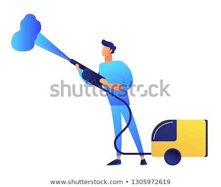 Stock photo: Cleaner with vapor steam cleaner vector illustration.