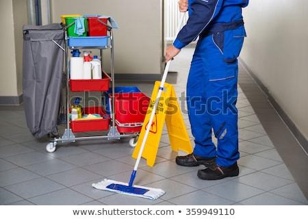 мужчины · работник · метлой · очистки · коридор - Сток-фото © andreypopov
