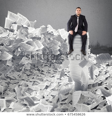 Businessman with paper sheet anywhere. Buried by bureaucracy. Concept of overwork Stock photo © alphaspirit
