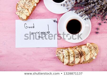 Stockfoto: Twee · koffie · boeket · bloemen · lavendel