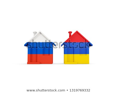 two houses with flags of russia and armenia stock photo © mikhailmishchenko