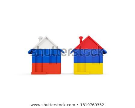 Zwei Häuser Fahnen Russland Armenien isoliert Stock foto © MikhailMishchenko
