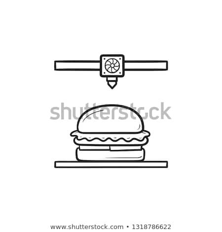 3d printer making hamburger hand drawn outline doodle icon stock photo © rastudio