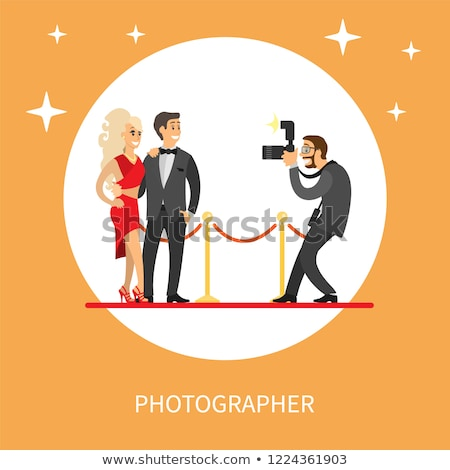 известный Знаменитости пару красный ковер изолированный женщину Сток-фото © robuart