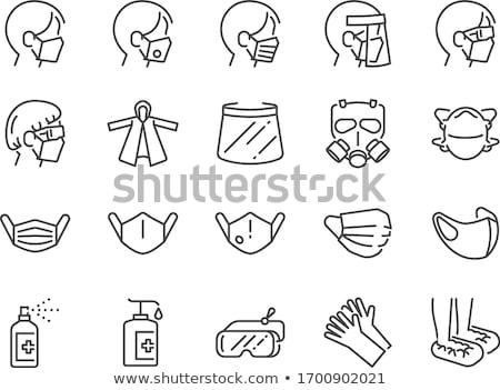 gasmasker · stencil · geïsoleerd · witte · vector · gezicht - stockfoto © angelp