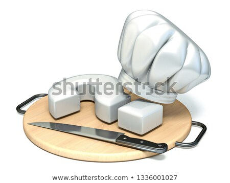 Question mark, kitchen board, chef's hat and knife 3D Stock photo © djmilic