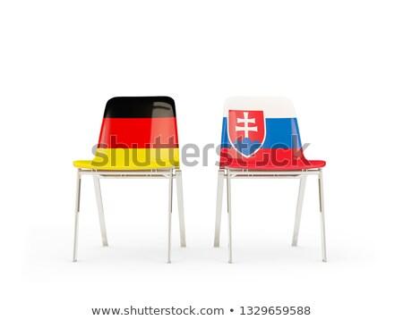 Twee stoelen vlaggen Duitsland Slowakije geïsoleerd Stockfoto © MikhailMishchenko