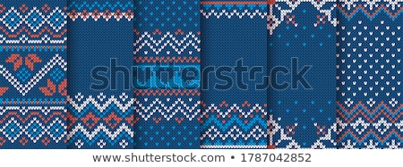 christmas embroidery seamless knitted pattern set stock photo © robuart