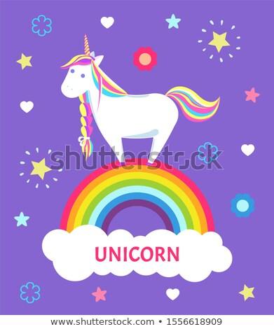 Girlish Unicorn with Rainbow Mane and Sharp Horn Stock photo © robuart
