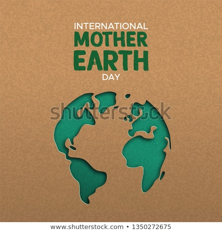Earth Day card of green paper cutout planet Stock photo © cienpies