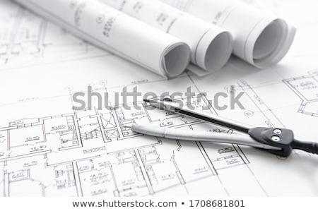 maison · construction · plans · portable · stylo · maison - photo stock © kayros