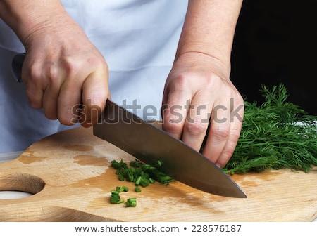 調理 切り 緑 木板 葉 健康 ストックフォト © OleksandrO