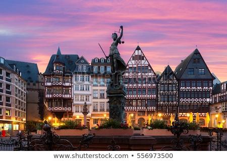 архитектура Франкфурт ночь Церкви моста синий Сток-фото © benkrut