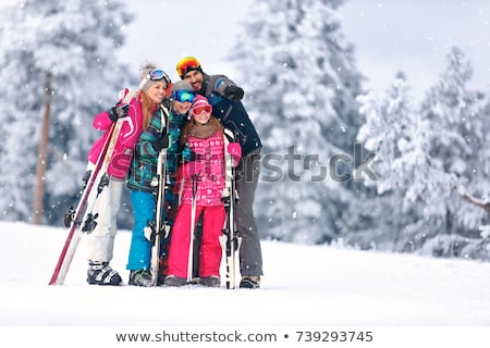 Family Skiing People with Equipment, Winter Season Stockfoto © robuart