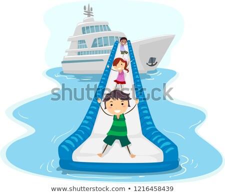 Dzieci jacht slajdów ilustracja jazda konna w dół Zdjęcia stock © lenm