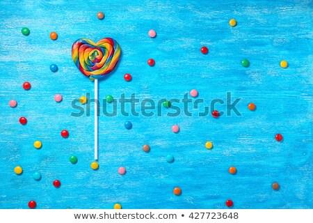 Lolly vorm hart witte vruchten snoep Stockfoto © magraphics