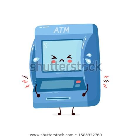 Caixa eletrônico máquina mascote ilustração cartão Foto stock © lenm