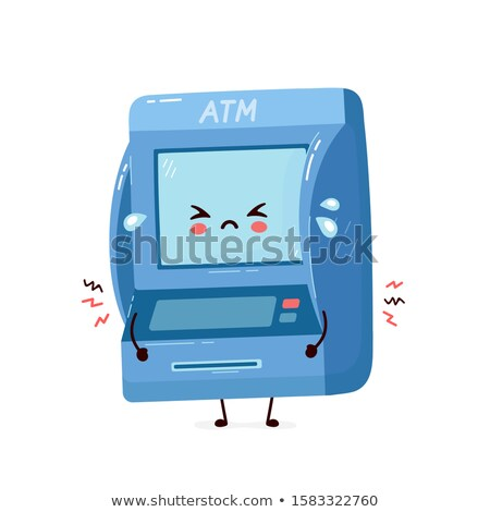 Atm machine mascotte illustration carte Photo stock © lenm