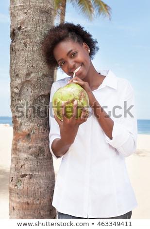 Stockfoto: Meisjes · drinken · kokosnoot · water · gekruld · meisje