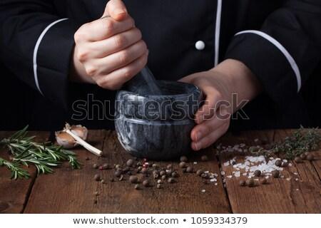 黒コショウ 女性 手 スパイス ツリー 食品 ストックフォト © galitskaya
