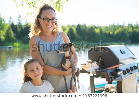 kadın · bacaklar · köpek · rus · terriyer · göz - stok fotoğraf © lopolo