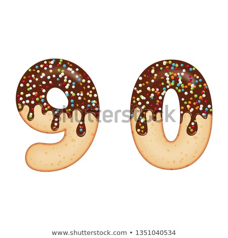 Tempting typography. Font design. 3D donut numbers nine and zero Stock photo © balasoiu