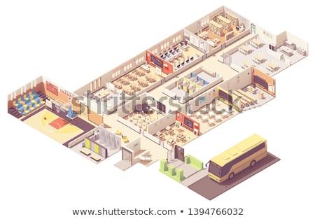 vetor · isométrica · escolas · universidade · edifício · ícone - foto stock © genestro