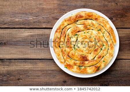 Taart gevuld feta ingericht mint bladeren Stockfoto © Alex9500