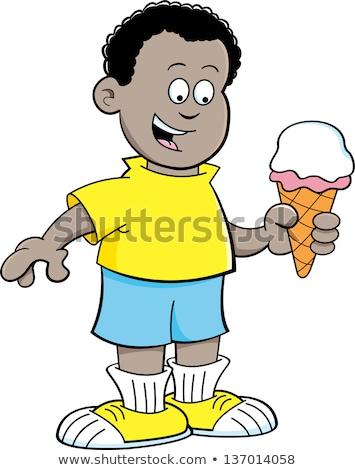 漫画 アフリカ 少年 食べ アイスクリームコーン 黒白 ストックフォト © bennerdesign