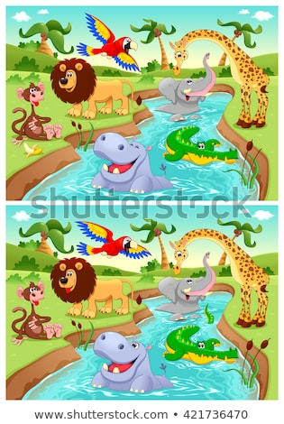 differences game with crocodiles animal characters Stock photo © izakowski