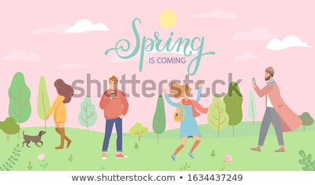 People Walking in Park, Trees and Clouds Vector Stock photo © robuart
