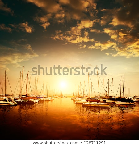 Yachts andl boats moored on tranquil waters  Stock photo © lovleah